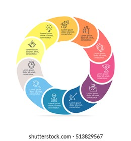 Business infographics. Circular infographic element with 11 steps, parts. Vector pie chart.