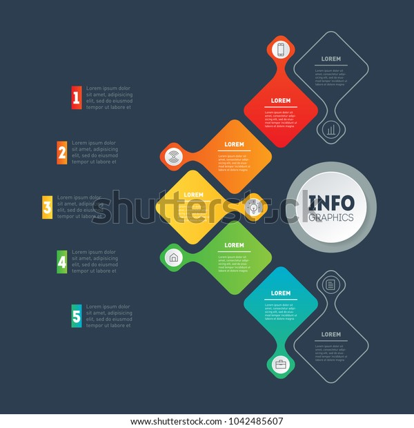 Business infographics concept with 5 options. Vector info graphic of technology or education process. Annual report. Web Template of a info chart, diagram or presentation with 5 steps.