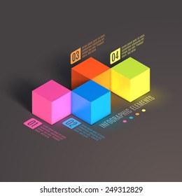 Business Infographics cube. 3d vector isometric illustration. Can be used for web design and workflow layout