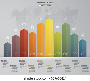 Business infographics design with 10 steps arrow graph for your presentation. EPS 10.