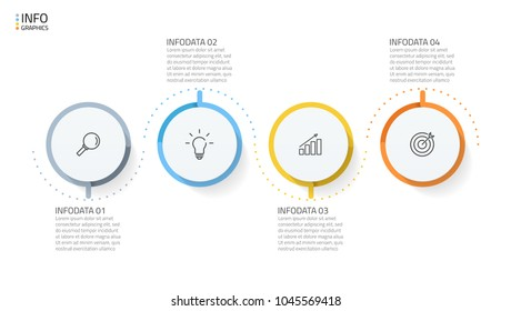 Business infographics design elements. Timeline with 4 circles, steps, points and marketing icons. Vector template for presentation.
