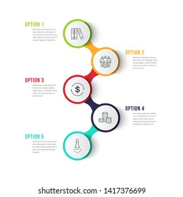 Business infographics desing template with icons and 5 steps. Can be used for workflow layout, diagram, annual report, web design.