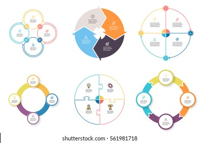Business infographics. Elements with 4 steps, arrows, sections. Vector pie charts.