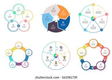 Business infographics. Elements with 5 steps, arrows, sections. Vector pie charts.