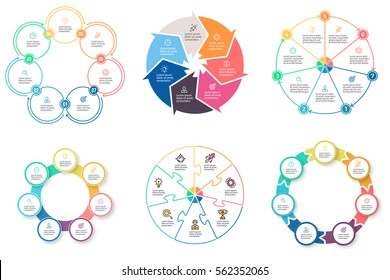 Business infographics. Elements with 7 steps, arrows, sections. Vector pie charts.