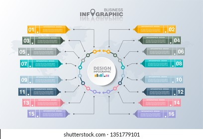 business Infographics elements data, abstract banner element.  16-steps concept. can be used web design or presentation,  illustration vector background