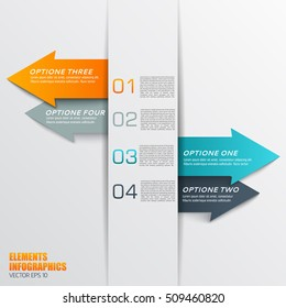 Business infographics elemnts with colorful arrows and numbered text fields flat vector illustration
