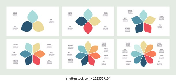 Business infographics. Flower pie charts with 3, 4, 5, 6, 7, 8 steps, options, petals. Vector diagram.