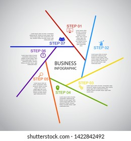 Business InfoGraphics, Geometry, Heptagon Design, Marketing presentation , section banner, Vector Illustration