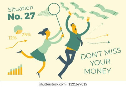 Business infographics with illustrations of business situations. Man and woman catching money with a hand and a butterfly net. Don't lose your money. Lost profits, opportunities.  To catch a profit.