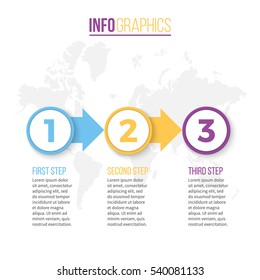Business infographics. Infographic with 3 steps.