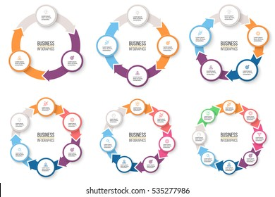 Business infographics. Infographic elements with 3, 4, 5, 6, 7, 8 steps, arrows, circles. Vector pie charts.