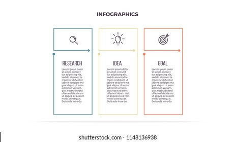 Business infographics. Informational table with 3 steps, column, options. Vector template. Editable line.