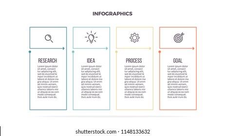 Business infographics. Informational table with 4 steps, column, options. Vector template. Editable line.
