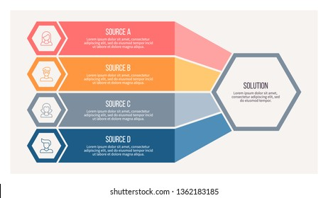 Business infographics. Organization chart with 4 steps, options, hexagons. Vector diagram.