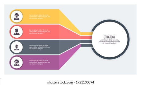 Business infographics. Organization chart with 4 steps, options. Vector diagram.