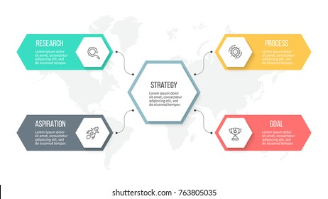 Business infographics. Organization chart with 4 options, hexagons. Vector template.