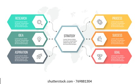 Business infographics. Organization chart with 6 options, hexagons. Vector template.
