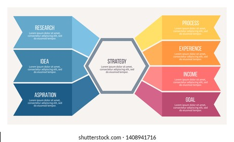 Business infographics . Organization chart with 7 steps, options. Vector chart.
