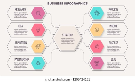 Business infographics. Organization chart with 8 options. Vector presentation template. Editable line.