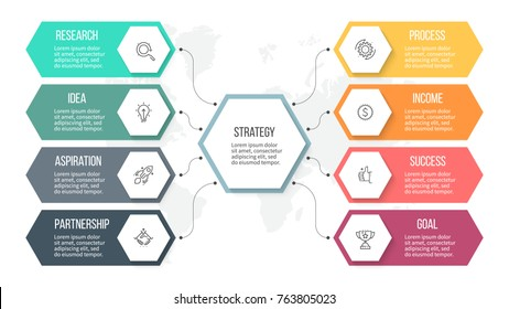 Business infographics. Organization chart with 8 options, hexagons. Vector template.