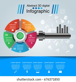 Business Infographics origami style Vector illustration. Key icon.