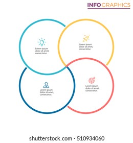 Business infographics. Outline infographic element with 4 steps, parts. Vector pie chart.