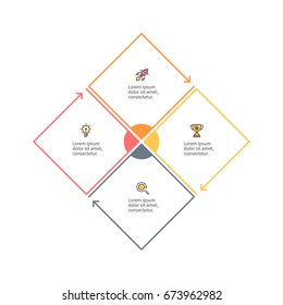 Business infographics. Outline square with 4 steps, parts. Vector pie chart.