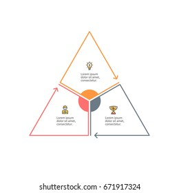 Business infographics. Outline triangle with 3 steps, parts. Vector pie chart.