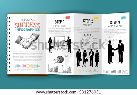 business infographics paper brochure template executive のベクター