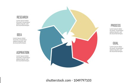 Business infographics. Pie chart, diagram with 5 steps, options, arrows. Vector template.