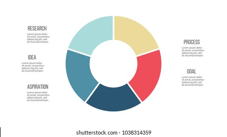 Business infographics. Pie chart, graph with 5 options, sections. Vector circular diagram.