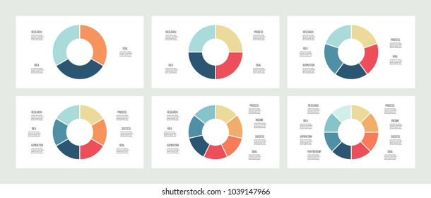 Business infographics. Pie chart, graph with 3, 4, 5, 6, 7, 8 options, steps. Vector circular diagram.