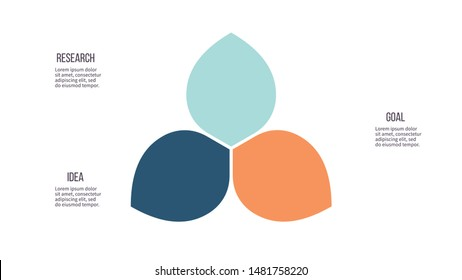 Business infographics. Pie chart, graph with 3 steps, options, petals. Vector diagram.