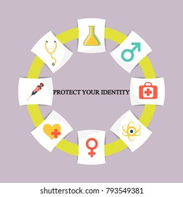Business infographics. Pie chart with the inscription:protect your identity
