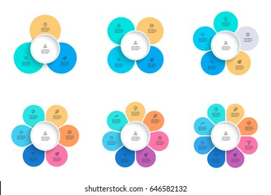 Business infographics. Pie charts with 3, 4, 5, 6, 7, 8 steps, options, petals. Vector templates.
