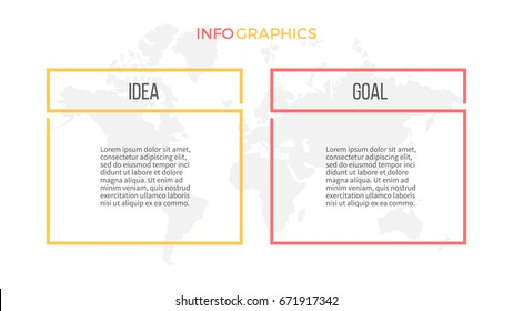 Business infographics. Presentation with 2 columns, options. Vector template.