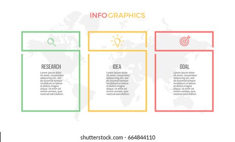 Business infographics. Presentation with 3 columns, options. Vector template.
