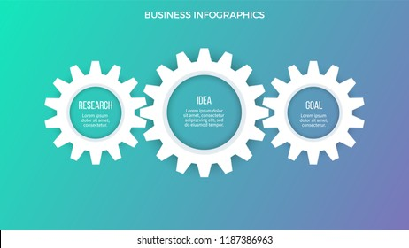 Business infographics. Presentation with 3 steps, options, gears. Vector template.