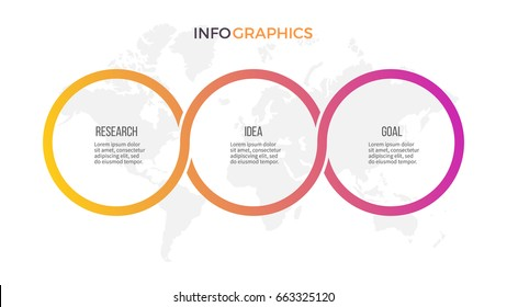 Business infographics. Presentation with 3 steps, options, circles. Vector template.