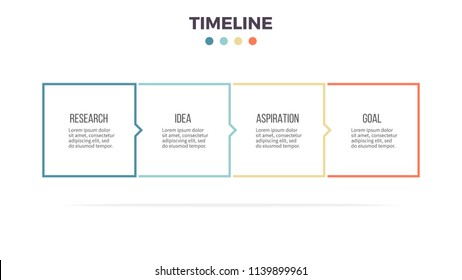 Business infographics. Presentation with 4 columns, options, squares. Vector template. Editable line.