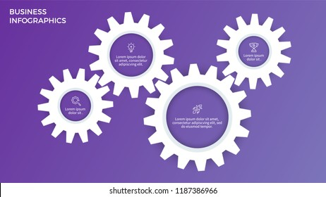 Business infographics. Presentation with 4 steps, options, gears. Vector template.