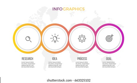 Business infographics. Presentation with 4 steps, options, circles. Vector template.