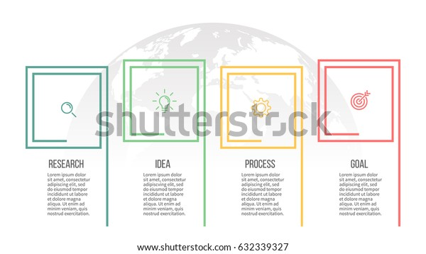 Business infographics. Presentation with 4 steps, squares. Thin line vector infographic template.