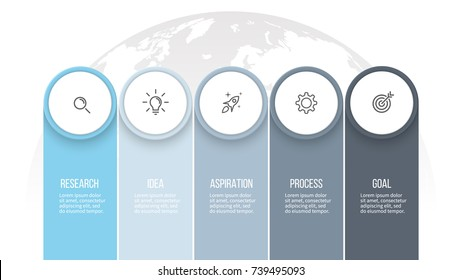 Business infographics. Presentation with 5 columns, options. Vector template.
