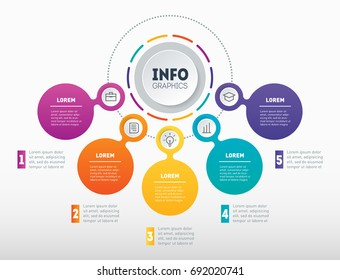 Business infographics or presentation with 5 options. Vector dynamic infographic of technology or education process with five parts. Web Template of a chart, mindmap or diagram