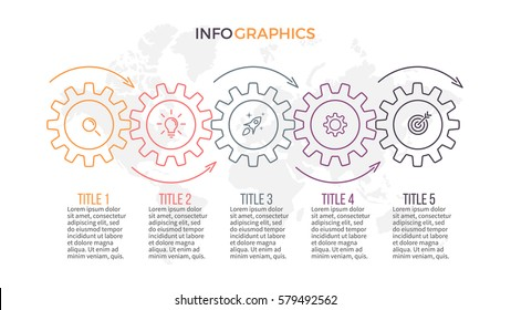 Business infographics. Presentation with 5 steps, gears.
