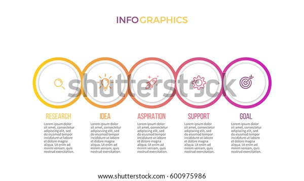 Business infographics. Presentation with 5 steps, options, circles.