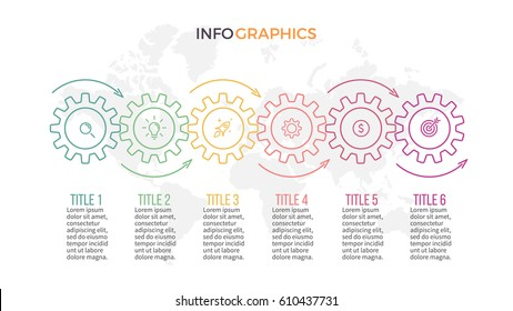 Business infographics. Presentation with 6 gears and arrows. Vector template.