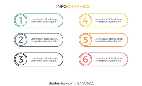 Business infographics. Presentation with 6 sections, number options. Vector element.